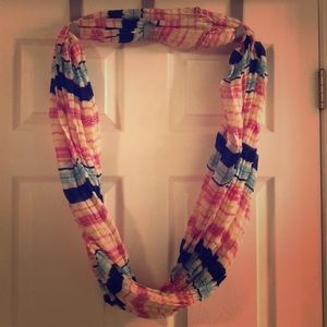 Blue/white/pink striped infinity scarf